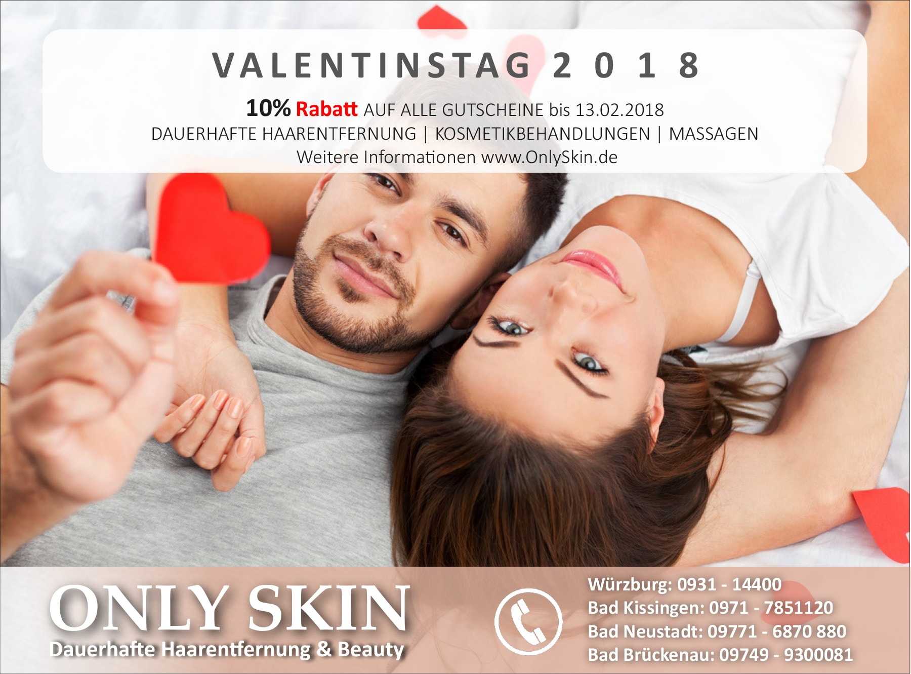 ONLY SKIN - Dauerhafte Haarentfernung in Würzburg, Bad Kissingen, Bad Neustadt - Studenten Rabatt